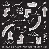 Weiße und graue Hand gezeichneter Pfeilvektorsatz Stockbilder