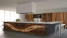 Weiße und graue minimalistic Küche, mit klassischen hölzernen Installationen, Luxusinnenarchitektur lizenzfreies stockfoto