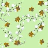 Weiße und orange Blumen des nahtlosen Musters des Aquarells auf einem grünen Hintergrund Lizenzfreies Stockbild
