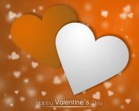 Weiße und orange Herzen auf einem orange backgroung mit zerstreuten wenig Herzen Stockbild