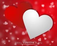 Weiße und rote Herzen auf einem backgroung mit zerstreuten wenig Herzen Stockfoto