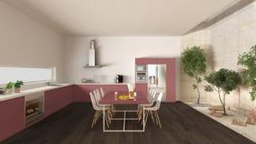Weiße und rote Küche mit innerem Garten, minimale Innenarchitektur Stockbilder