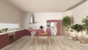 Weiße und rote Küche mit innerem Garten, minimale Innenarchitektur Stockfotos