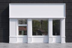 Weiße und schwarze Caféfassade mit einem Plakat Stockfoto
