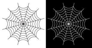 Weiße und schwarze Farbe der Spinnennetz-Ikone Stockbilder