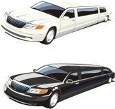 Weiße und schwarze Limousine Lizenzfreie Stockfotografie