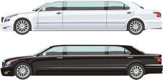 Weiße und schwarze Limousine Stockfotografie