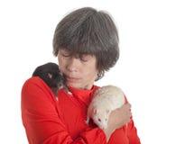 Weiße und schwarze Ratten Stockfotos