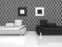 Weiße und schwarze Stühle Stockbild