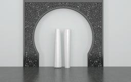 Weiße Vasen im Raum mit dekorativem Metallbogen vektor abbildung