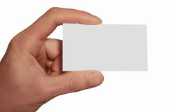 Weiße Visitenkarte in der Hand Stockfotos