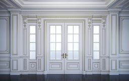 Weiße Wände in der klassischen Art mit Vergoldung Wiedergabe 3d lizenzfreie abbildung
