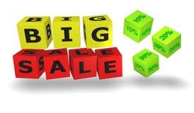 Weiße Würfel mit großen Verkaufswörtern Stockfotografie