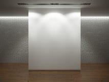 Weiße Wand über brickwall mit hölzernem Fußboden Stockfotografie
