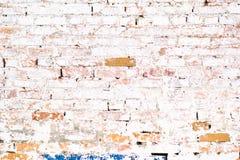 Weiße Wand des alten alten Ziegelsteines mit Moos Ziegelstein-Beschaffenheit der alten Wand lizenzfreie stockfotografie