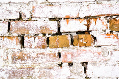 Weiße Wand des alten alten Ziegelsteines mit Moos Ziegelstein-Beschaffenheit der alten Wand Lizenzfreies Stockfoto