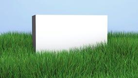 Weiße Wand mit einem Kopienraum auf Rasen des grünen Grases, illustratio 3D Stockbild