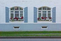 Weiße Wand mit zwei Fenstern und Blumen Stockbilder