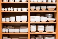 Weiße Waren auf Verkauf stockbild