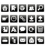 Weiße Websiteikonen auf schwarzen Quadraten Lizenzfreie Stockfotografie