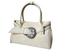 Weiße weibliche Handtasche getrennt auf Weiß Lizenzfreie Stockfotografie