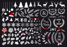 Weiße Weihnacht, Vektorsatz Lizenzfreies Stockfoto