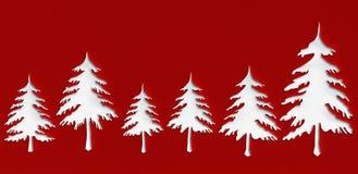Weiße Weihnachtsbäume mit Durchschlagspapier entwerfen Hintergrund Stockbilder