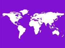 Weiße Weltkarte getrennt auf Purpur Stockfotos