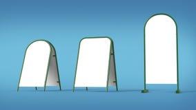 Weiße Werbungsfahnensäulenstand-Modellschablone lokalisierte Wiedergabe lizenzfreie abbildung