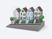 Weiße Wiedergabe des Hintergrundes 3d der Haus-San Francisco-Karikaturart vektor abbildung