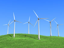 Weiße Windturbinen Stockfotografie