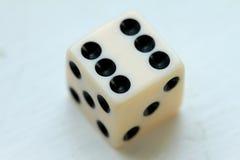 Weiße wining Würfel sechs Punkte stockbilder