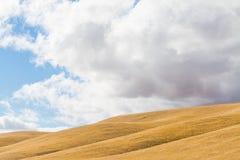 Weiße Wolken über einem gelben Hügel in Kalifornien Stockfoto