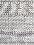 Weiße Wolle gestrickter Hintergrund Stockfoto
