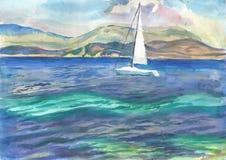 Weiße Yacht im blauen Meer Stockfotos