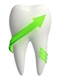 Weiße Zahnikone mit grünen Pfeilen - 3d Stockfoto