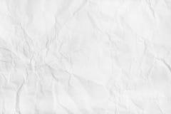 Weiße zerknitterte Papierbeschaffenheit Flache Lage, Draufsicht Lizenzfreie Stockbilder