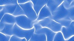 Weiße Zusammenfassung bewegt auf blauen Hintergrund - die Form wellenartig, die von den Linien gemacht wird Lizenzfreies Stockbild