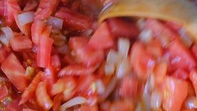 Weiße Zwiebel gehackt mit roten frischen Tomaten stock video footage