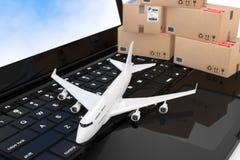 Weißen Jet Passengers Flugzeug mit Pappschachteln über modernem Stockbild
