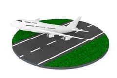 Weißen Jet Passengers Flugzeug-Start von der abstrakten Rollbahn 3 Lizenzfreie Stockfotografie