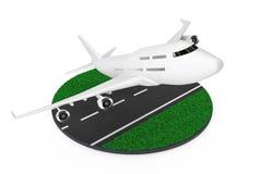 Weißen Jet Passengers Flugzeug-Start von der abstrakten Rollbahn 3 Stockfoto
