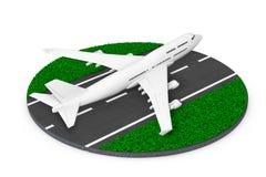 Weißen Jet Passengers Flugzeug-Start von der abstrakten Rollbahn 3 Stockfotos