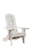 Weißer adirondack Stuhl auf einem weißen Hintergrund Stockfotografie