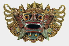 Weißer Ausschnitt der Balinese-Dämon-hölzernen hängenden Maske lizenzfreie stockfotografie