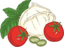 Weißer Büffel-Mozzarella und Gemüse Stockfotografie