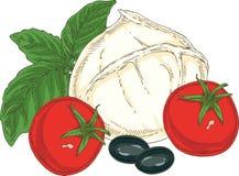 Weißer Büffel-Mozzarella und Gemüse Lizenzfreie Stockfotografie