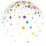 Weißer Ball 3d mit bunten Konfettis Stockbild