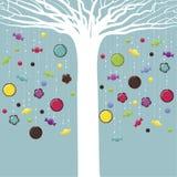 Weißer Baum mit Süßigkeit und Plätzchen stock abbildung