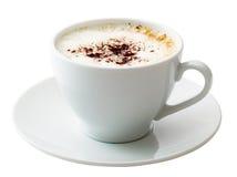 Weißer Becher Kaffee getrennt lizenzfreies stockbild
